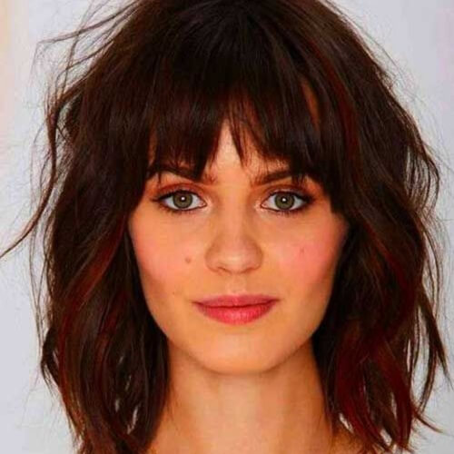 Wavy Hair Straight Bangs