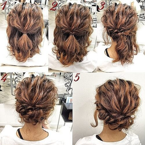 easy updos for medium hair curly bun