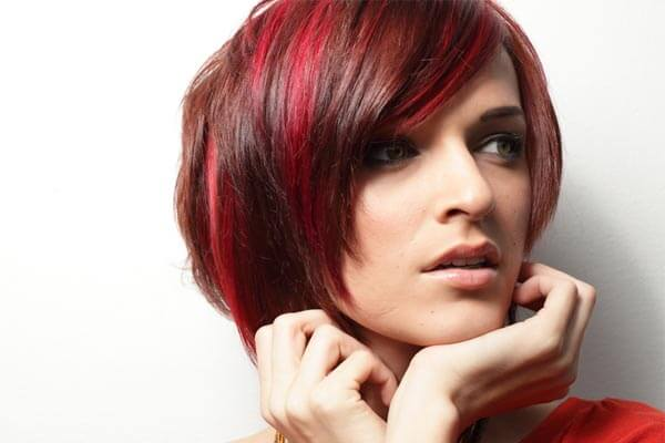 red streaks of hair and bob haircut