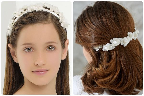 white headband with flowers for little girl