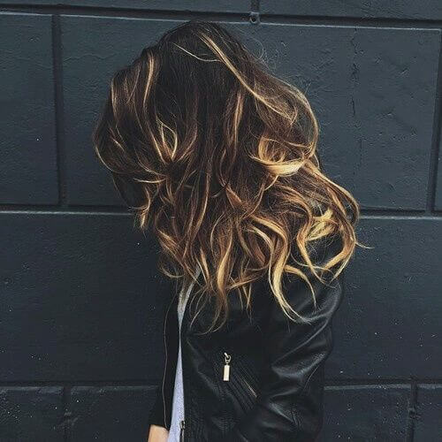 blonde streaks in dark brown hair