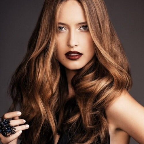 dark lowlights on light brown hairstyle