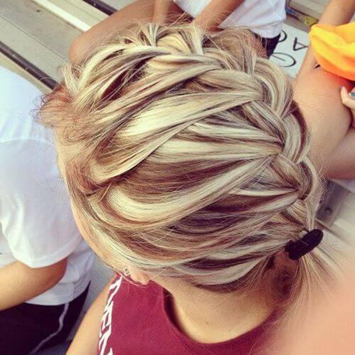 lowlights in blonde braid