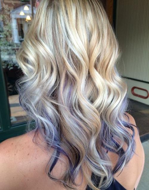 purple lowlights brown hair
