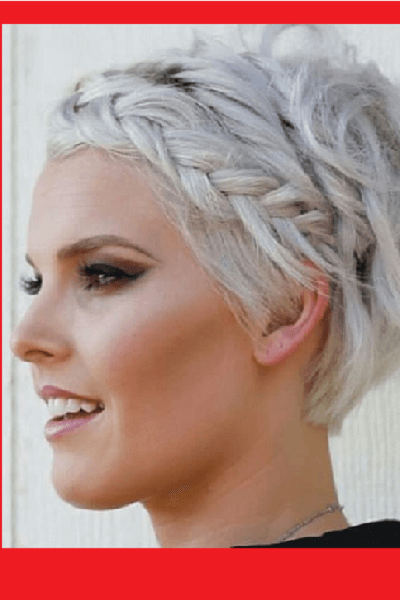 Angled Silver Pixie Cut with Braid