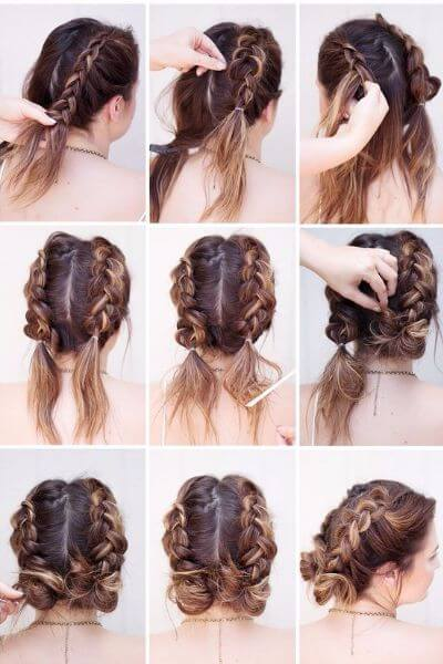 Braids and Twin Buns Hairstyle for Stuffy Mornings