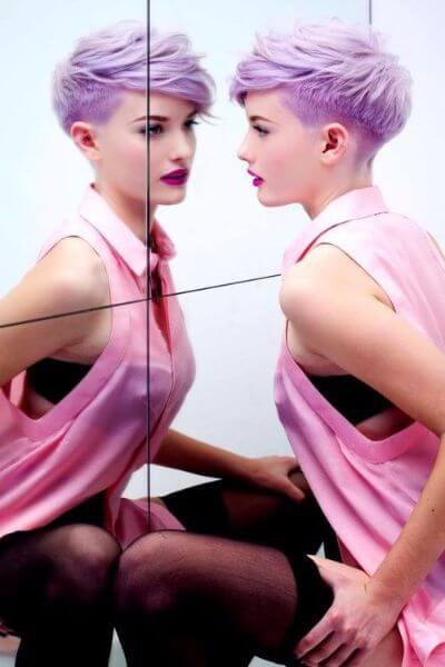 Daring Lavender Pixie Cut with Temple Fade
