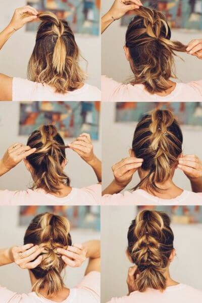 Fast Braided Low Bun for Short Hair Perfection