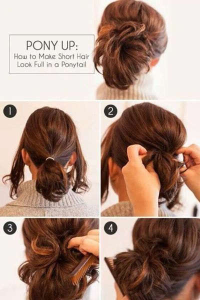Fast and Easy Full Ponytail Hairstyle for Short Hair