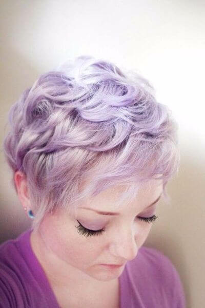 Electric Purple Pixie Cut for Wavy Hair