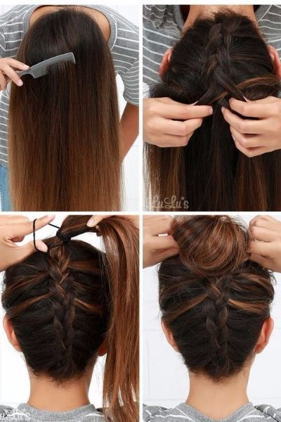 Perfect Reverse Braided Bun in 5 Minutes