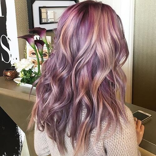 Pink, Strawberry Blonde and Lavender Hair Highlights