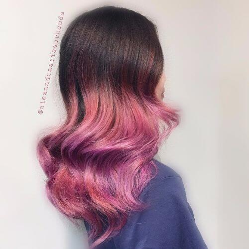 purple ombre with auburn highlights