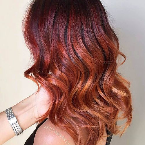fiery red balayage