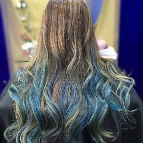 pastel blue balayage highlights on blonde hair