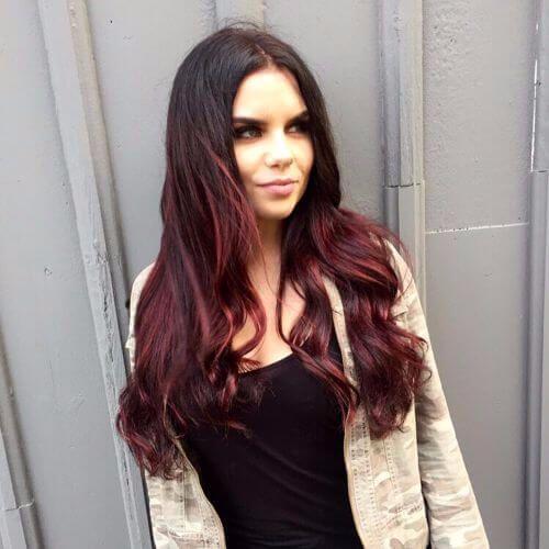 brunette hair with burgundy highlights