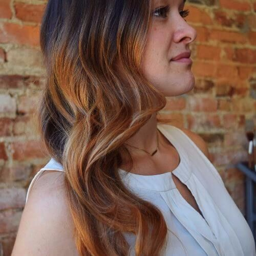 copper balayage on brown hair