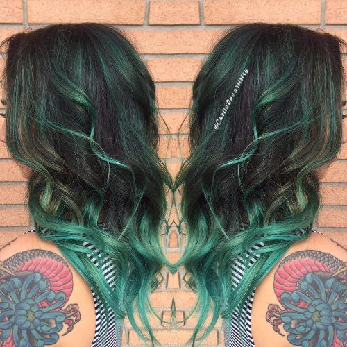 green balayage highlights