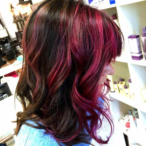 burgundy purple balayage