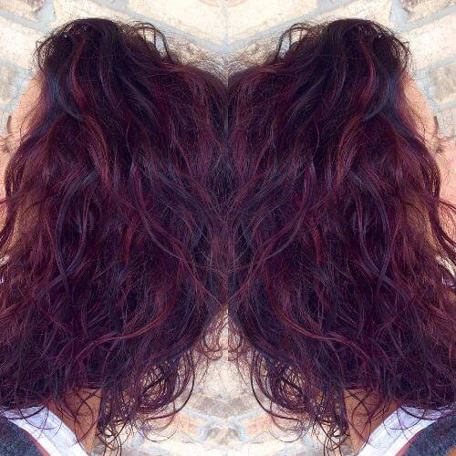 lavender highlights on dark hair