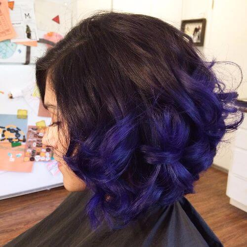 Black blue and purple short hair