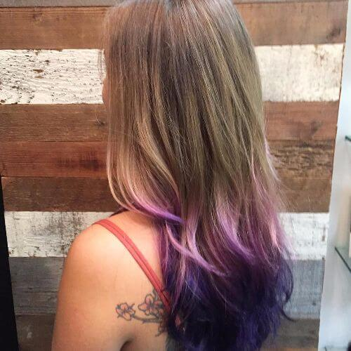 blonde and purple ombre hair