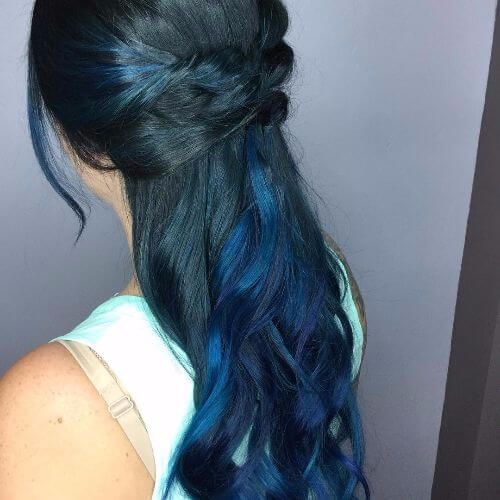 Dark hair with blue and green highlights