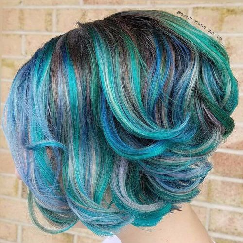 green blue balayage