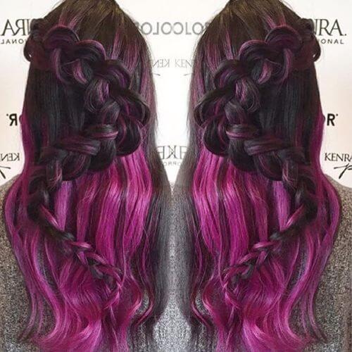 dutch braid on purple hair