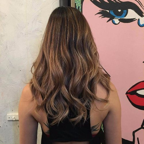 ash brown hair balayage