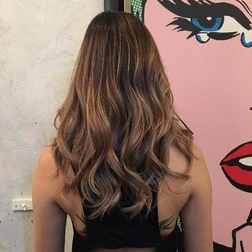 ash brown hair balayage
