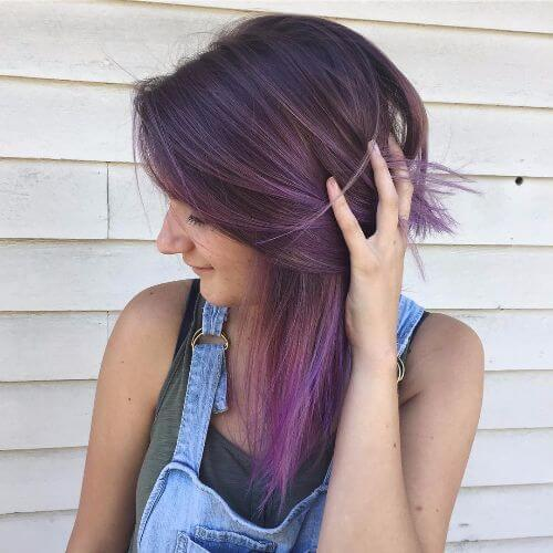 50 Purple Om... Ombre Highlights For Dark Brown Hair