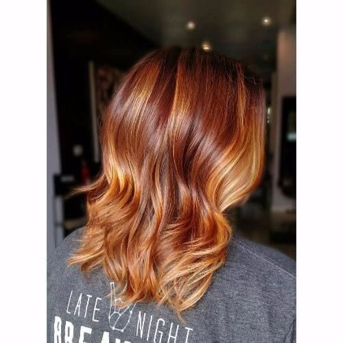 copper highlights for brunettes