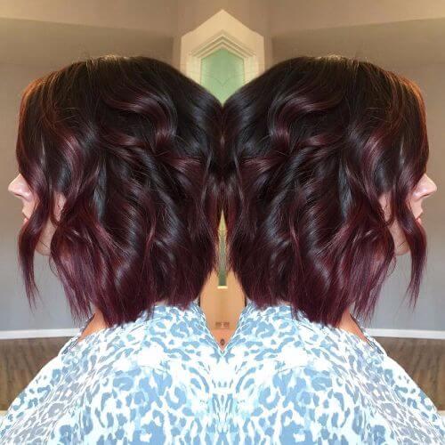 burgundy balayage