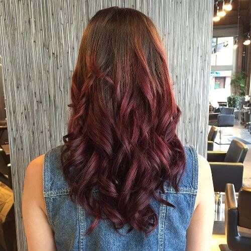light burgundy balayage