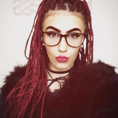 box braids in burgundy