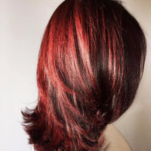 warm burgundy balayage