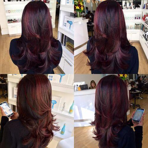 burgundy balayage highlights