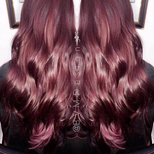 burgundy hair color on long hair