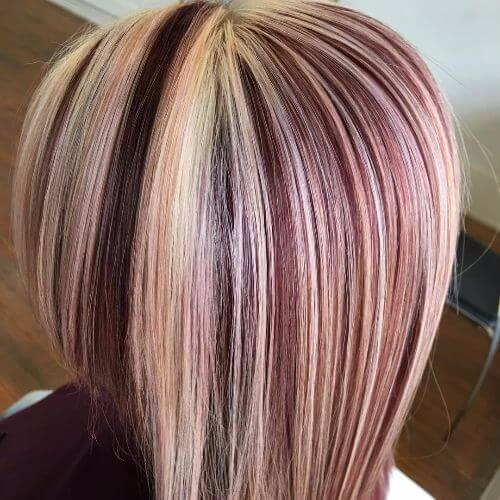 burgundy highlights on short blonde hair