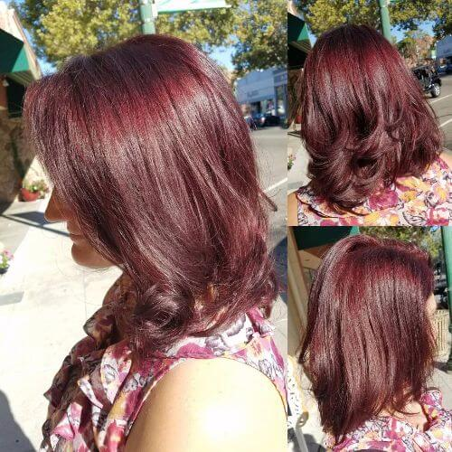 lob haircut on burgundy hair