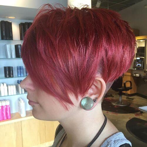 pixie haircut on burgundy hair