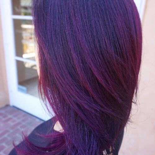 violet burgundy hair shade