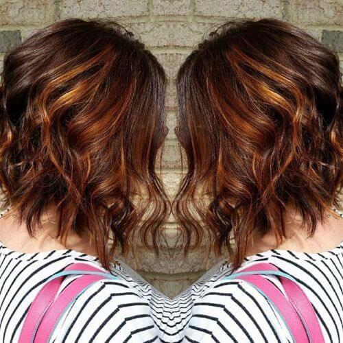 caramel highlights on short hair