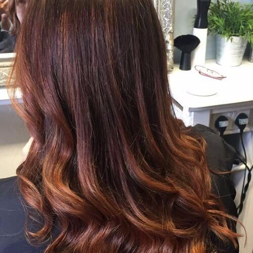 balayage in chocolate brown shades
