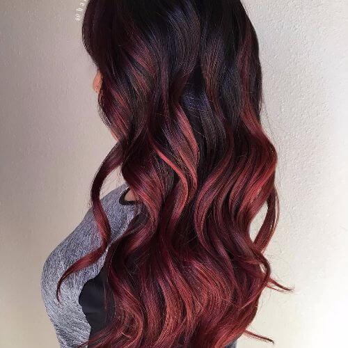 red highlights on dark hair