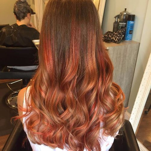 long hair copper balayage