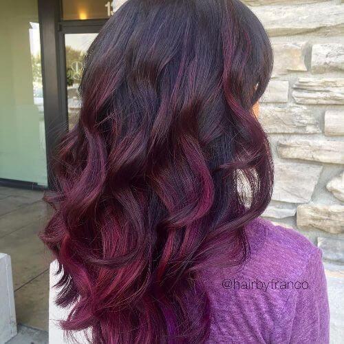 purple highlights on dark brown hair