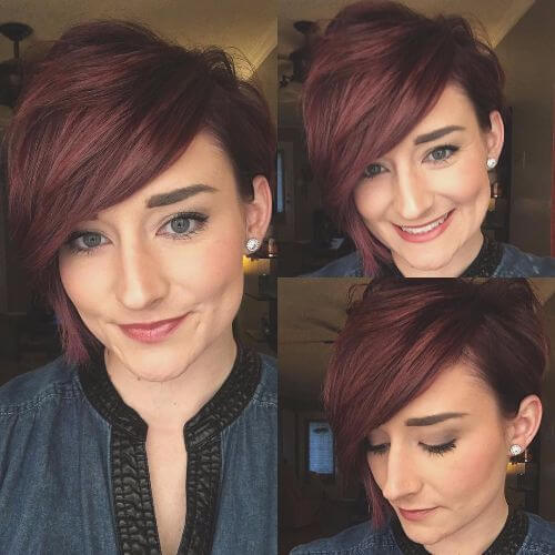 outgrown pixie cut on auburn hair