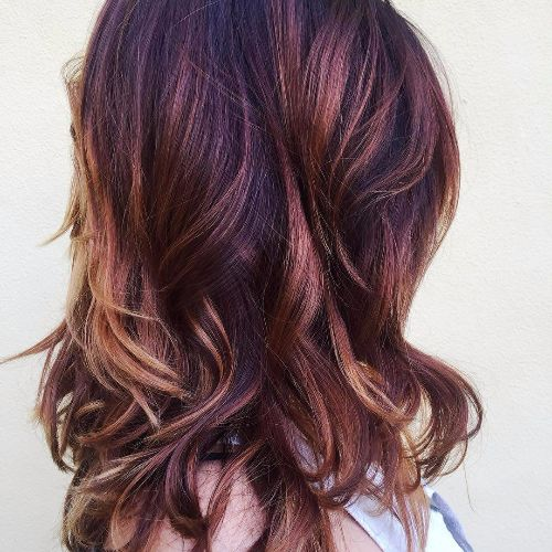 red balayage highlights